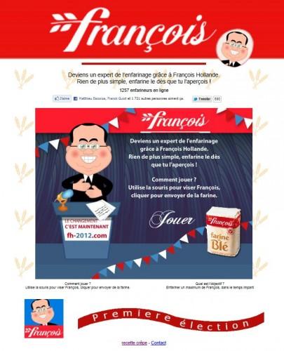 François, Hollande, enfariné
